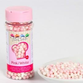 Perlas decorativas blandas Rosa/Blanco
