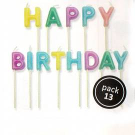 Velas Happy Birthday. 13 uds